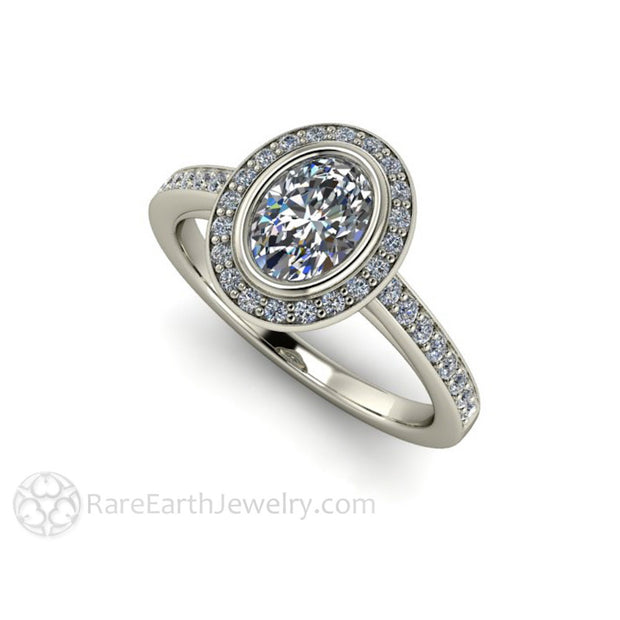 Rare Earth Jewelry White Sapphire Bridal Ring Oval Cut Diamond Halo 14K or 18K Gold