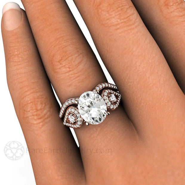 Rare Earth Jewelry Forever One Oval Cut Moissanite Bridal Wedding Set 14K Rose Gold