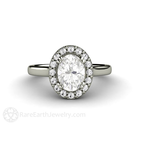 Oval Moissanite Engagement Ring Diamond Halo with Classic Shank