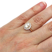 Rare Earth Jewelry Oval Cut Moissanite Bridal Ring on Finger Vintage Style Cluster Halo Engagement