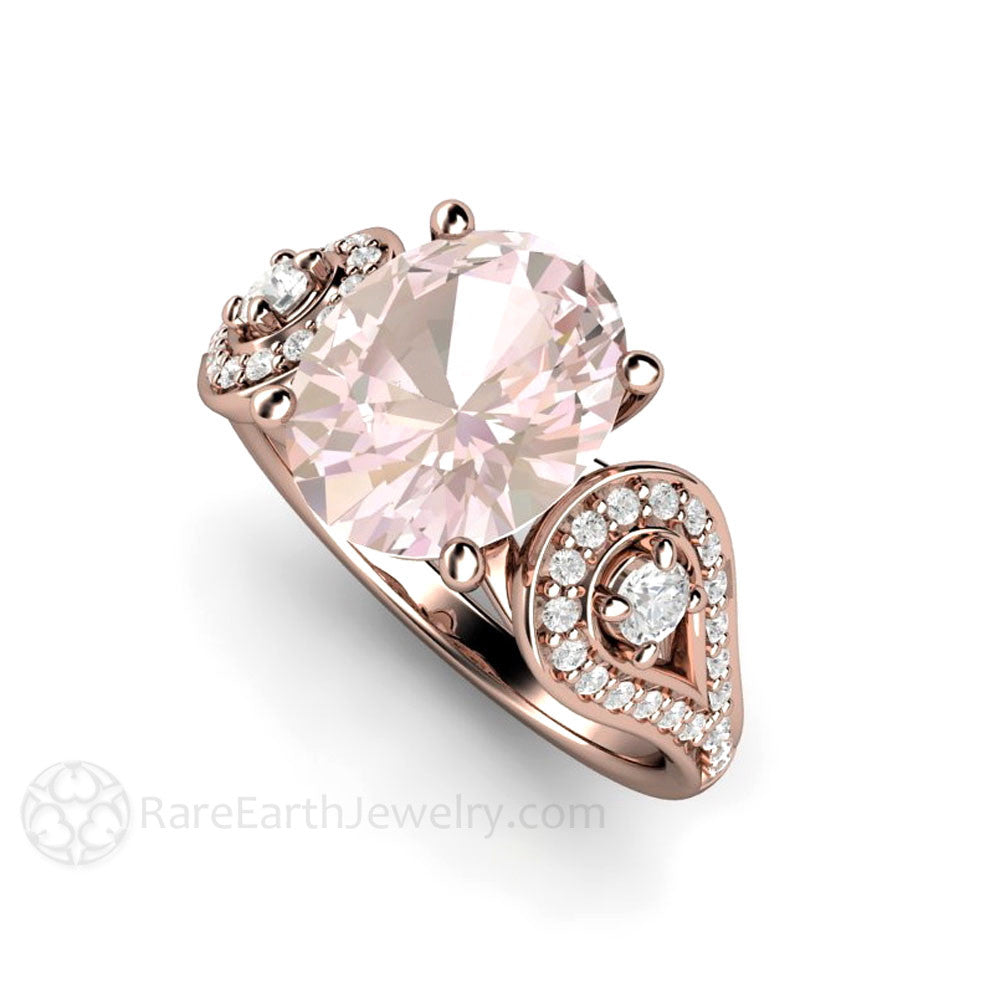 Oval Morganite Engagement Ring Diamond Accents 3 Stone