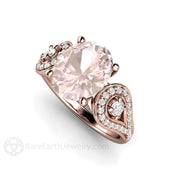 Rose Gold Oval 3 Stone Morganite Bridal Ring Rare Earth Jewelry