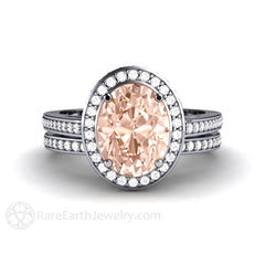 Rare Earth Jewelry Oval Cut Morganite Wedding Ring Set 14K or 18K Gold Diamond Halo and Accent Stones