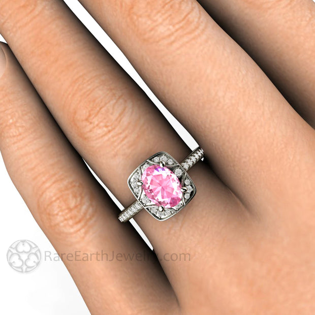 Rare Earth Jewelry Oval Pink Sapphire Right Hand Ring on Finger 1.75 Carat Center Stone with Diamond Accents
