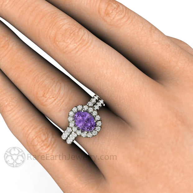 Rare Earth Jewelry Oval Purple Sapphire Wedding Ring Set on Finger Diamond Accented Halo and Bridal Band 14K