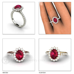 Oval Ruby Right Hand Ring Diamond Cluster Halo Rare Earth Jewelry