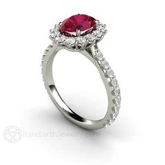 Oval Ruby Ring Diamond Halo July Birthstone Rare Earth Jewelry