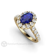 Rare Earth Jewelry Oval Sapphire Engagement Ring 14K Gold Halo Setting with Diamonds