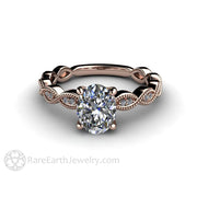 Rare Earth Jewelry Oval Solitaire Diamond Engagement Ring Rose Gold Antique Design GIA Certified Diamond Accented with Milgrain