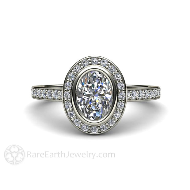 Rare Earth Jewelry Oval White Sapphire Engagement Ring Diamond Halo and Accent Stones 14K Gold
