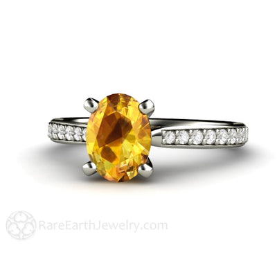 Rare Earth Jewelry Oval Yellow Sapphire Solitaire Engagement Ring