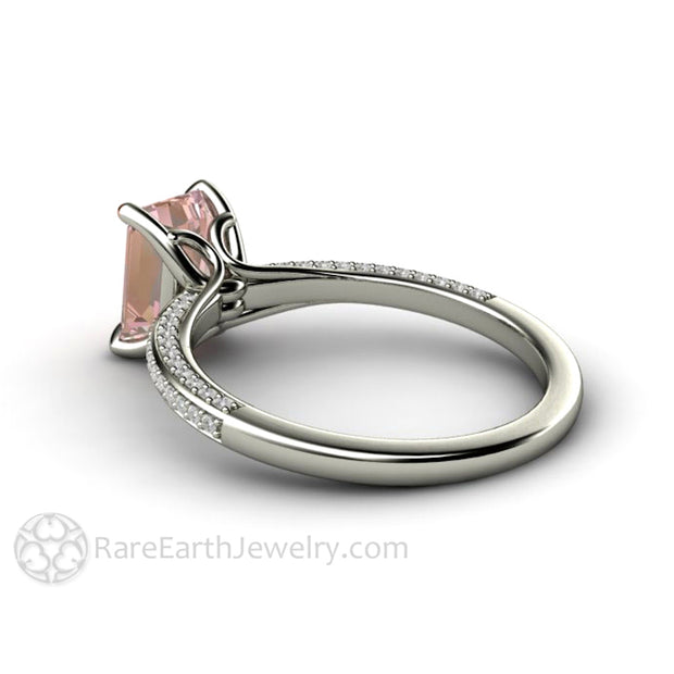 Pastel Pink Sapphire Ring Emerald Cut Solitaire Setting by Rare Earth Jewelry