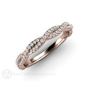 Infinity Wedding Band or Engagement Ring Rose Gold Twist Rare Earth Jewelry