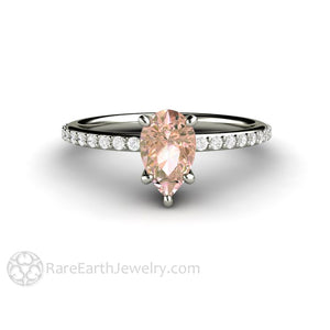 Rare Earth Jewelry Pear Cut Sapphire Wedding Ring Pink 1.15ct Solitaire with Diamond Accent Stones