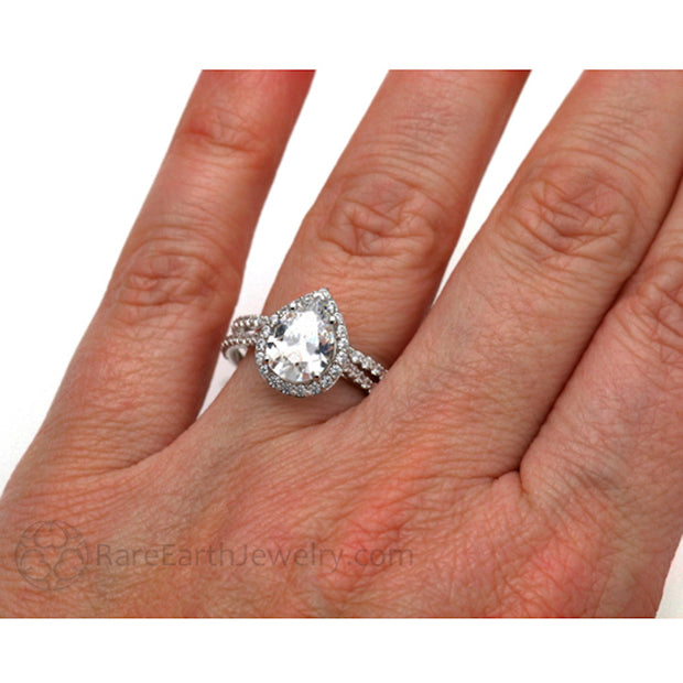 Rare Earth Jewelry Forever One Moissanite Wedding Ring Set on Finger Halo Setting Pear Shaped 14K or 18K Gold