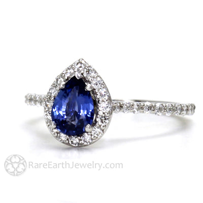 Rare Earth Jewelry Blue Sapphire Ring Pear Shaped with Diamonds 14K Gold Wedding or Anniversary