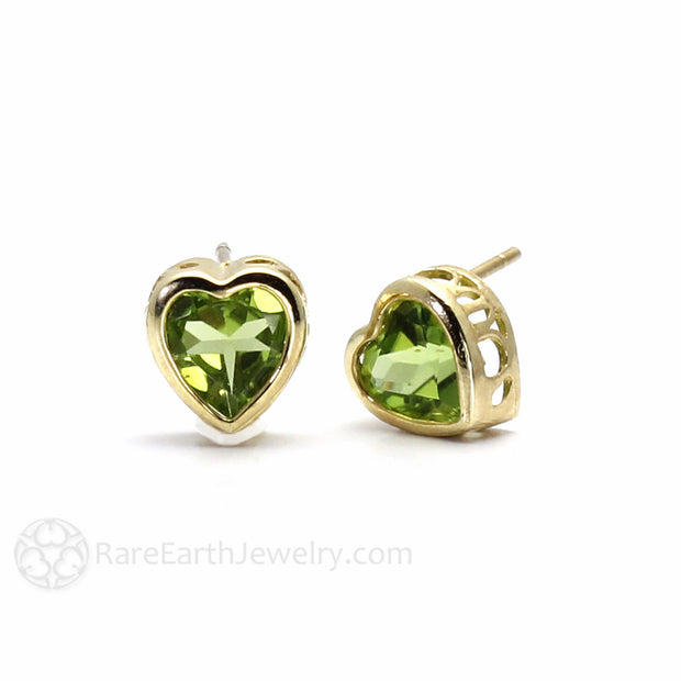 Rare Earth Jewelry August Birthstone Earrings Natural Peridot Heart Shaped 14K Gold