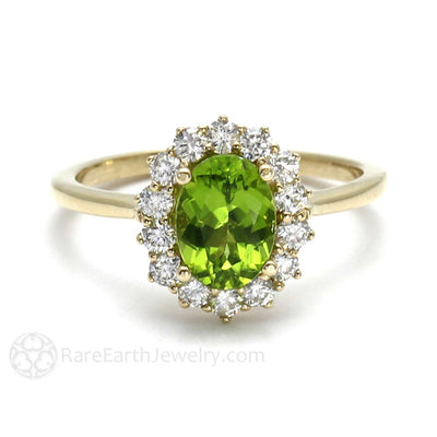 Rare Earth Jewelry Oval Peridot Ring with Diamond Cluster Halo 14K Gold