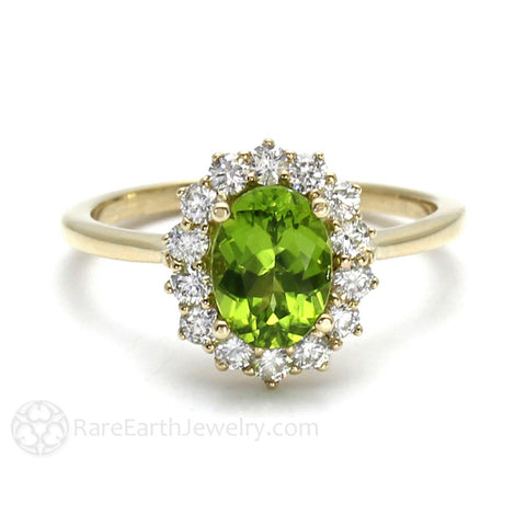 Peridot Ring Oval Cluster Halo with Diamonds August Birthstone