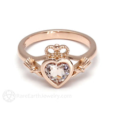 Rare Earth Jewelry Heart Shaped Morganite Ring Bezel Set Natural Gemstone