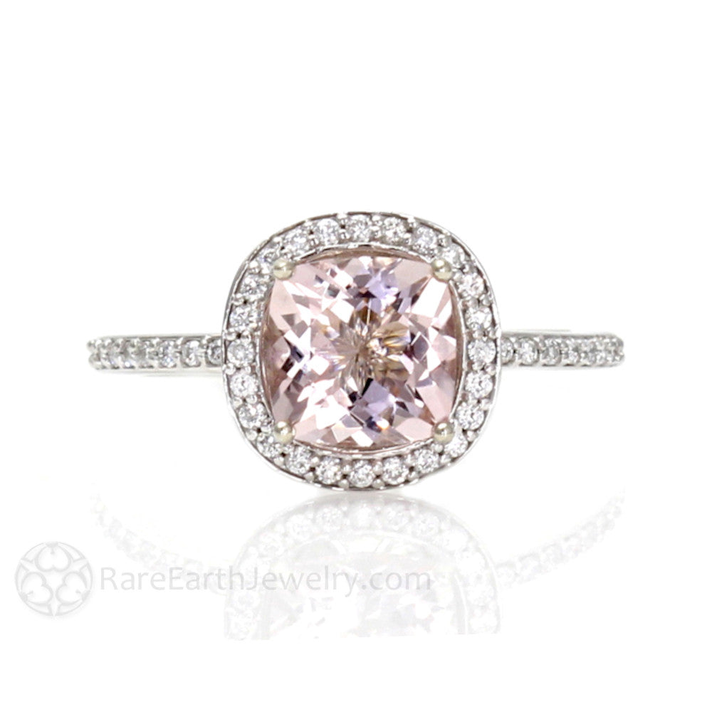 Rare Earth Jewelry Pink Cushion Morganite Engagement Ring with Diamond Halo 14K or 18K Gold