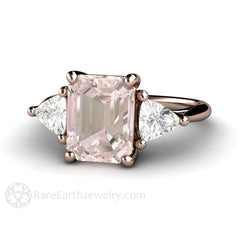 Diamond Alternative Pink Morganite Engagement Ring Sapphires