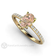 Rare Earth Jewelry Pink Sapphire Anniversary Ring 1.15 Carat Pear Cut Solitaire with Diamond Accents 14K Gold