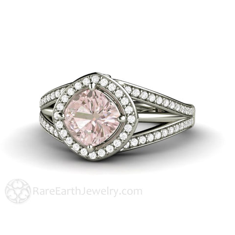 Cushion Halo Pink Sapphire Engagement Ring Triple Split Shank
