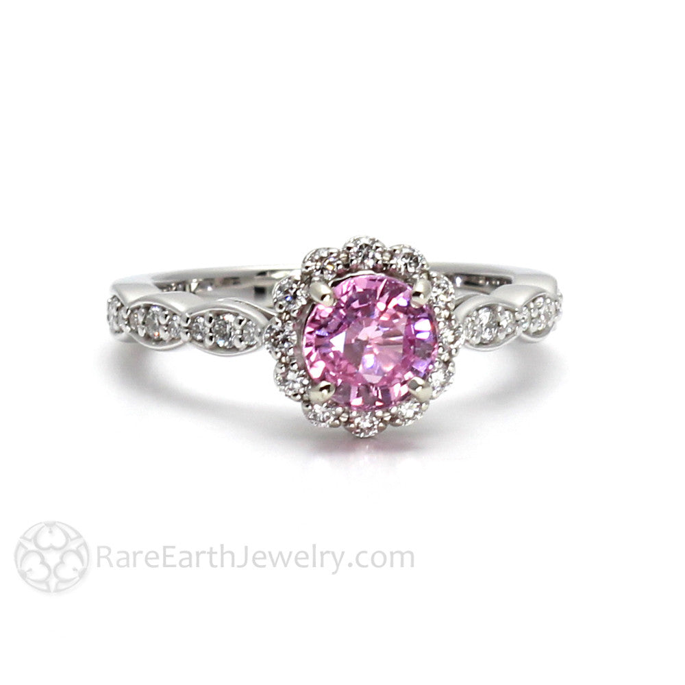 ring product sapphire cushion stone and morganite three pink halo with rings