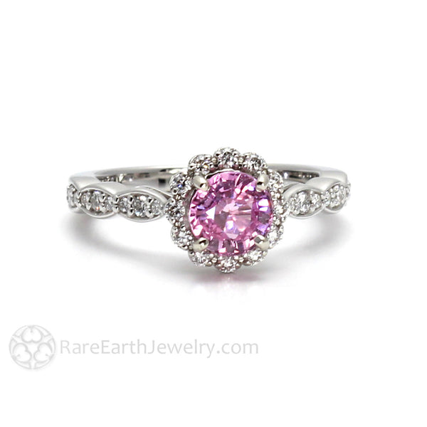 Pink Sapphire Ring Vintage Diamond Halo Engagement Or