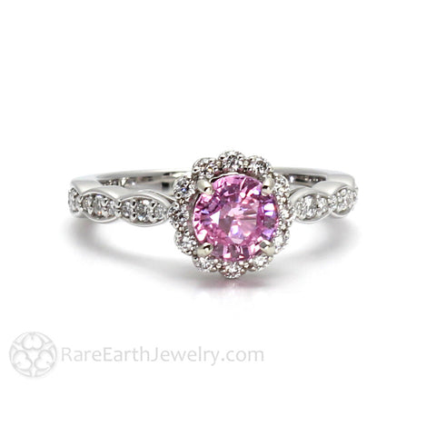 Vintage Pink Sapphire Engagement Ring with Diamond Halo