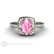Rare Earth Jewelry Pink Sapphire Engagement Ring 14K White Gold Vintage Style Setting Diamond Accented
