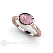 Rare Earth Jewelry Pink Sapphire Right Hand Anniversary Ring 14K Rose Gold Bezel Setting 1.75 Carat 8x6mm Oval