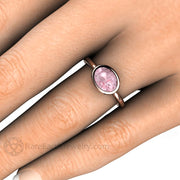 Rare Earth Jewelry Pink Sapphire Right Hand Ring on Finger 14K Rose Gold Bezel