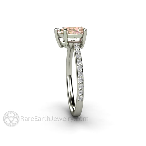 Rare Earth Jewelry Pink Sapphire Right Hand Ring or Unique September Birthstone Alternative 14K White Gold Setting