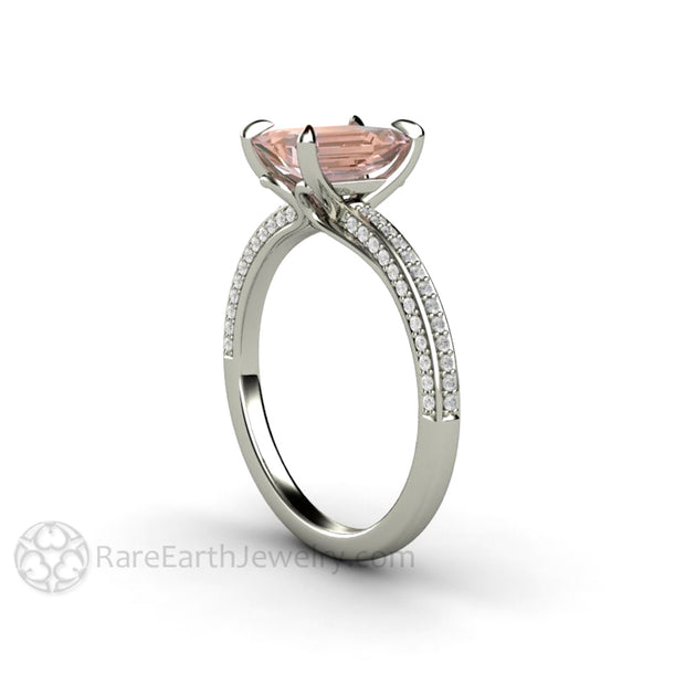 Champagne Sapphire Solitaire Ring with Claw Prongs and Diamonds on a Thin Band by Rare Earth Jewelry