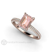 Rose Gold Pink Sapphire Engagement Ring Dainty Pave Diamond Shank by Rare Earth Jewelry