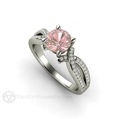 Round Cut Pink Sapphire Wedding Ring with Diamond Twist Band Rare Earth Jewelry
