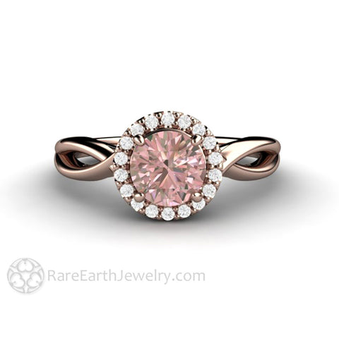 Light Pink Sapphire Bridal Ring with Diamond Halo Infinity Split Shank Setting