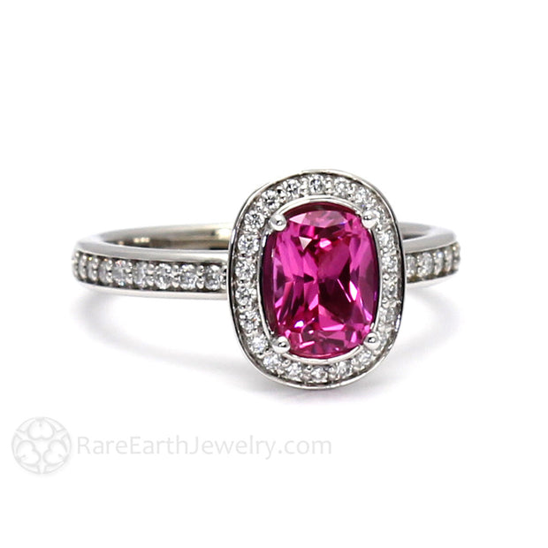 Rare Earth Jewelry Cushion Cut Pink Sapphire Ring with Diamonds