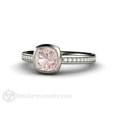 Rare Earth Jewelry Pastel Pink Sapphire Ring Diamond Accented Band 14K White Cushion Cut Bezel