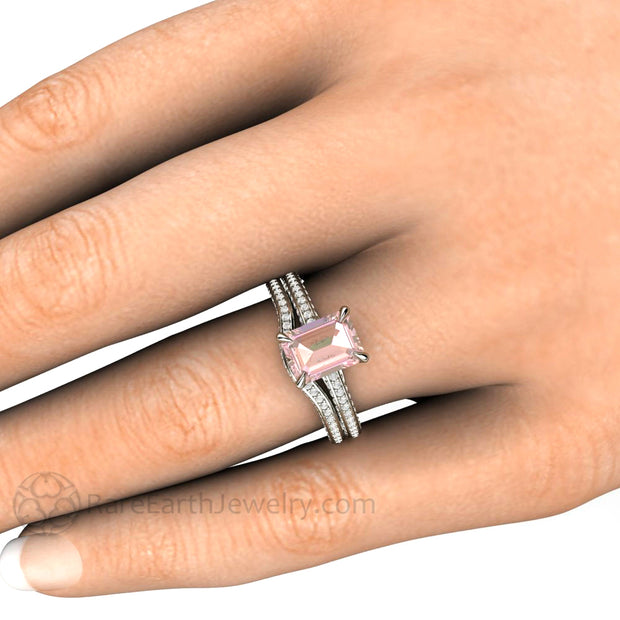 Baby Pink Sapphire Pave Diamond Wedding Set on Finger by Rare Earth Jewelry