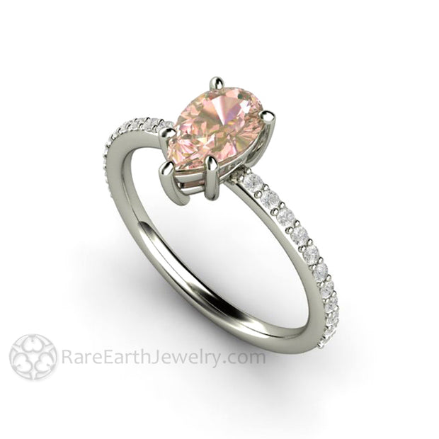 Rare Earth Jewelry Pink Sapphire and Diamond Ring 14K White Gold Pear Shaped Natural Gemstone
