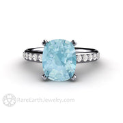 Rare Earth Jewelry Platinum 3ct Cushion Aquamarine Ring Double Prong Cathedral Pave Setting Diamond Accented