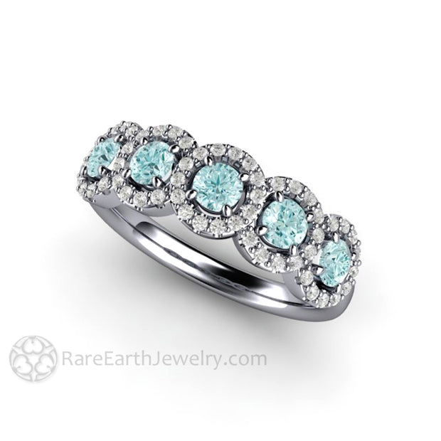 Rare Earth Jewelry Platinum 5 Stone Aquamarine Halo Ring Conflict Free Natural Gemstones