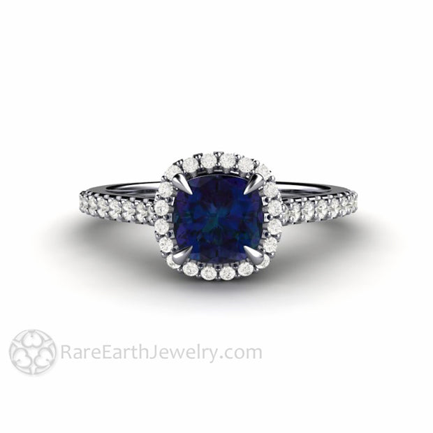 Platinum Alexandrite Ring Cushion Diamond Halo Dainty Thin Band by Rare Earth Jewelry