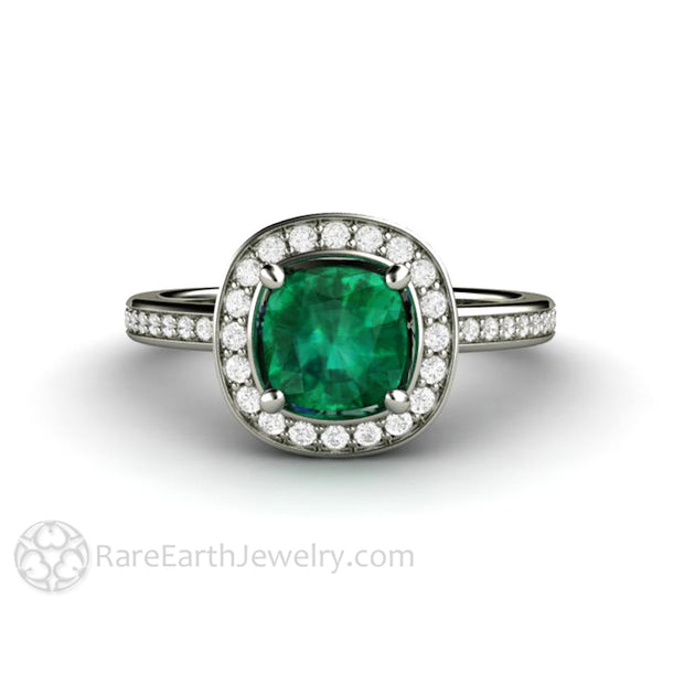 Rare Earth Jewelry Antique Square Emerald Halo Engagement Ring Diamond Accented