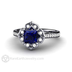 Rare Earth Jewelry Platinum Art Deco Blue Sapphire Engagement Ring Princess Cut Halo