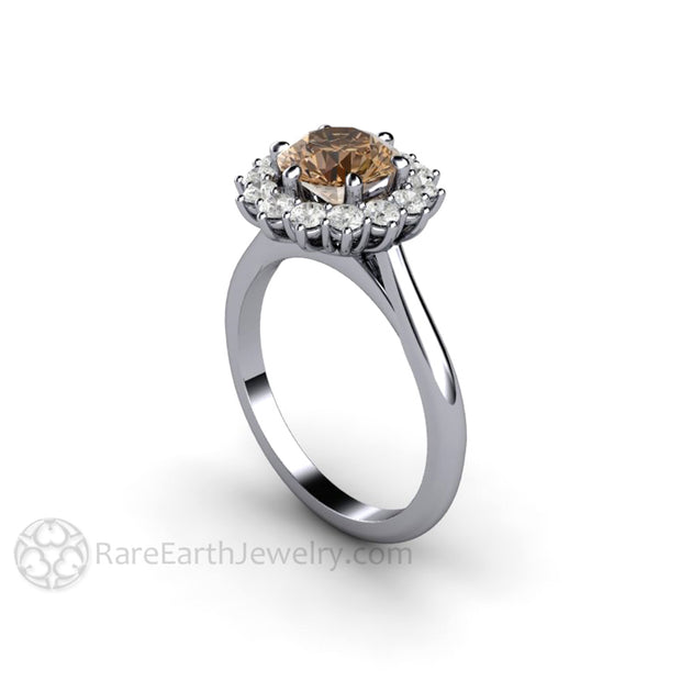 Rare Earth Jewelry Platinum Brown Moissiante Halo Right Hand Ring Engagement or Anniversary 1.25ct Center Stone