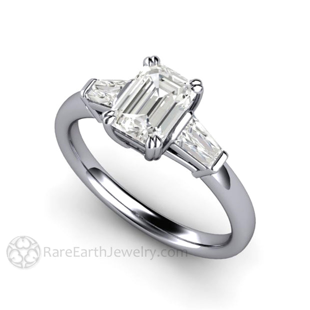 Rare Earth Jewelry Platinum Diamond Ring Emerald Cut 1 Carat GIA with Baguettes 3 Stone Setting